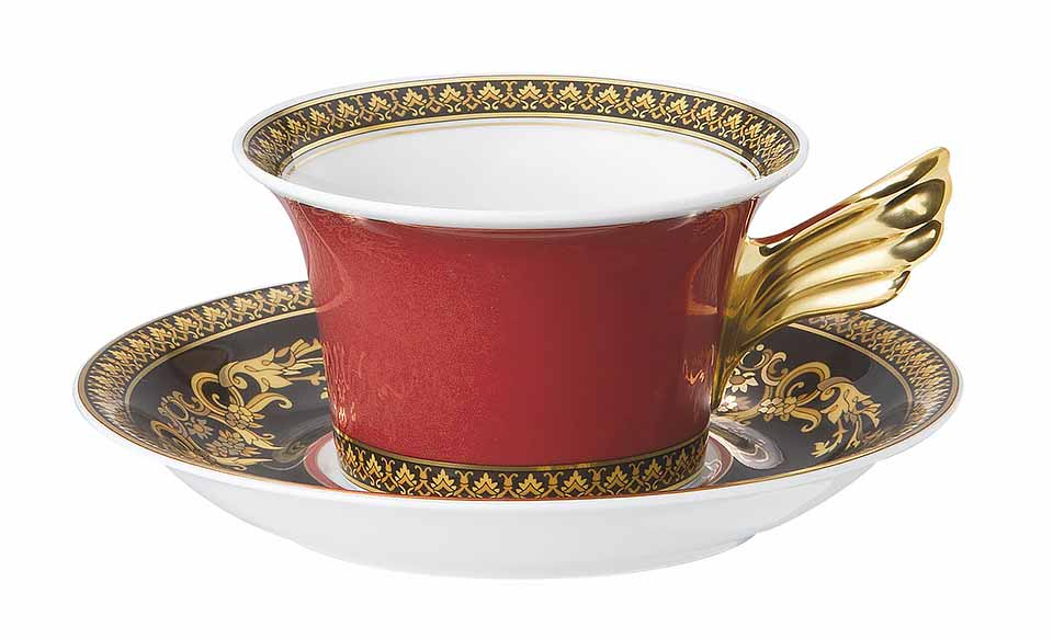 VERSACE Medusa Red  Tea Cup and Saucer